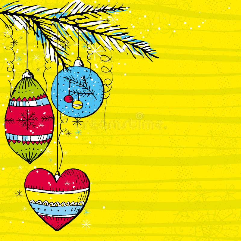 Yellow christmas background, vector royalty free illustration