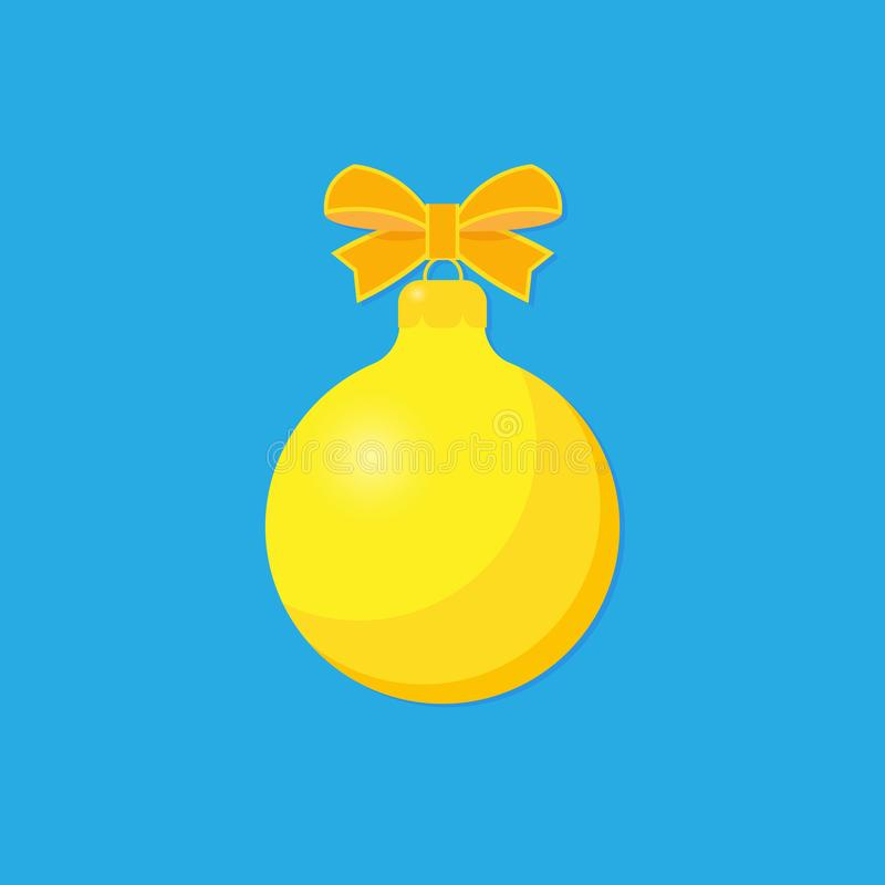 Yellow Christmas ball with ribbon and a bow royalty free illustration
