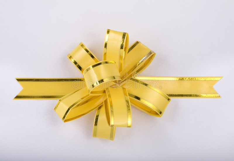Yellow Christmas Gift Ribbon And Bow Royalty Free Stock Photography