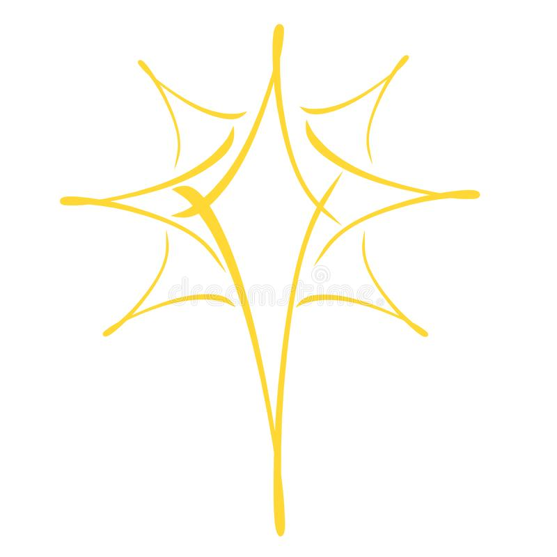 Yellow christmas star, abstract pattern on a white background royalty free illustration