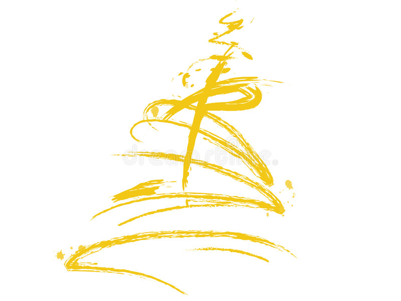 Yellow christmas tree. Abstract Christmas tree with white background vector illustration