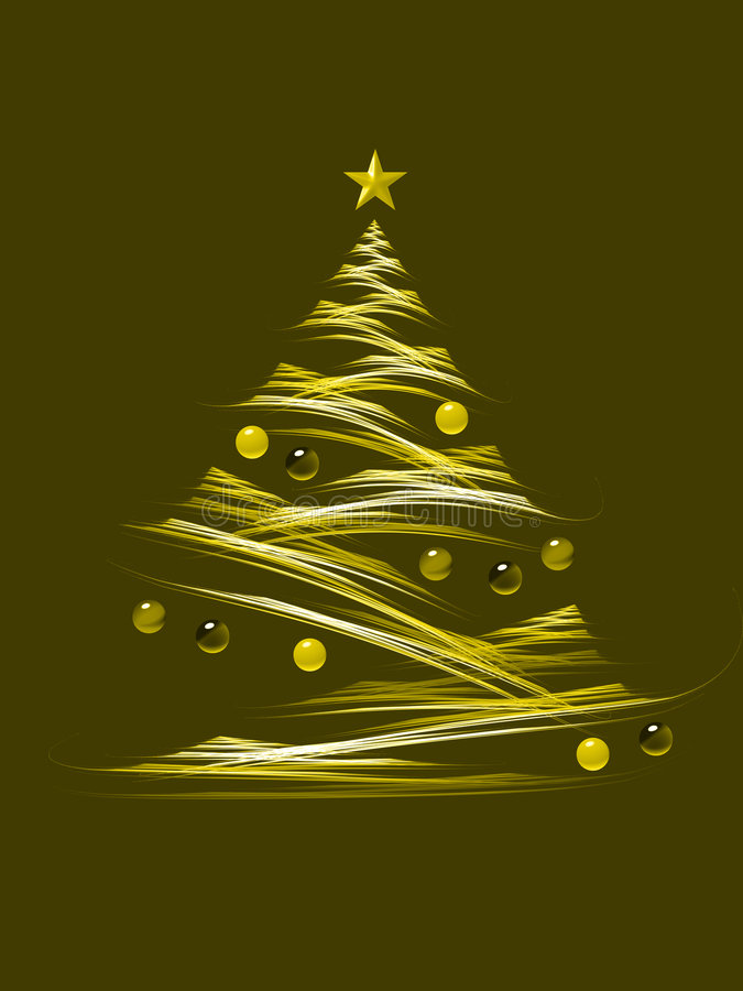 Yellow christmas tree stock illustration