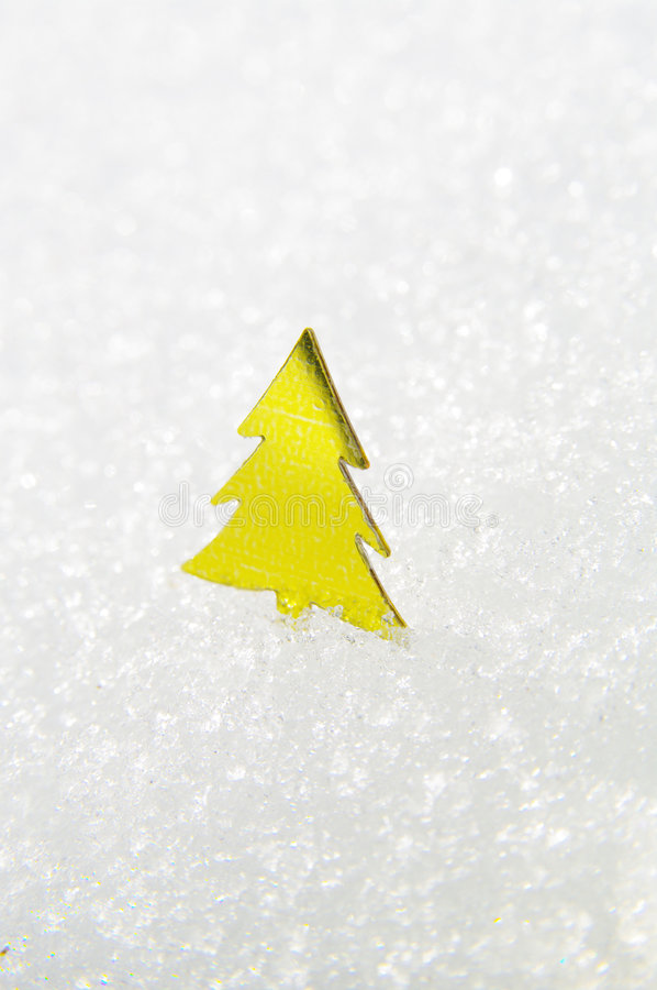 Download Yellow Christmas Tree On Snow Stock Photo - Image: 6575890