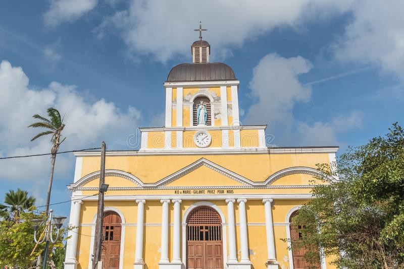 Yellow church in Marie Galante royalty free stock images