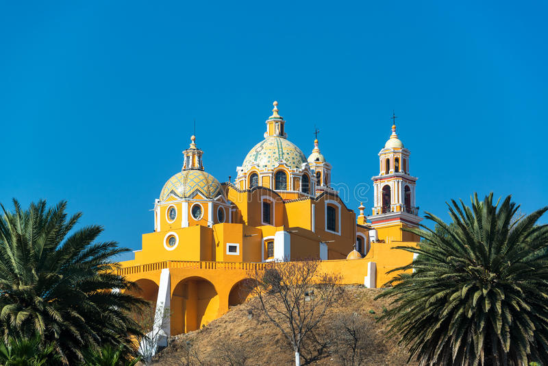 Yellow Church and Palm Trees royalty free stock images