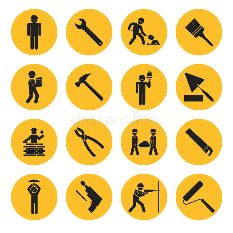 Yellow Circle Construction and Building Icons. With Various Tools and Workers stock illustration