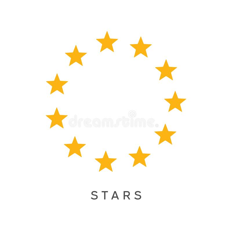 Yellow Circle Stars Symbol Vector Illustration. Stock