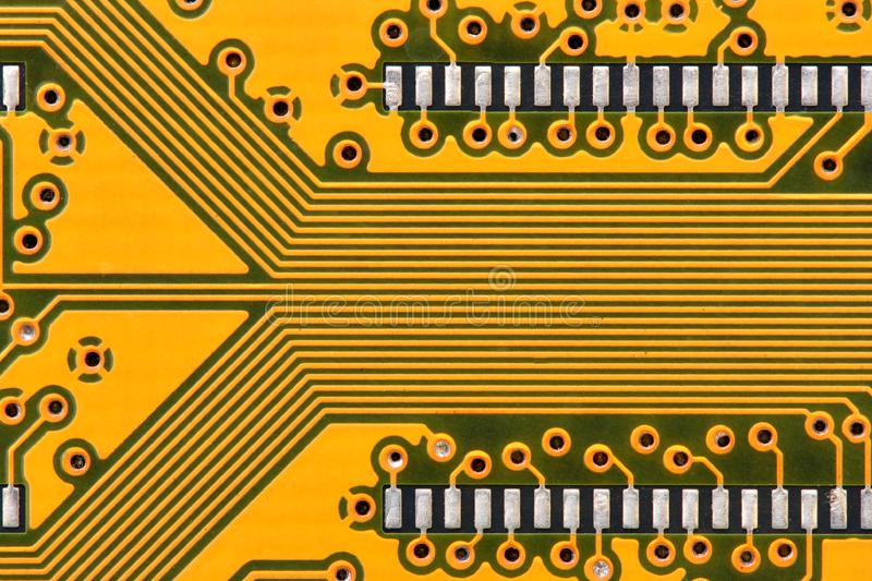 Yellow circuit board stock photo