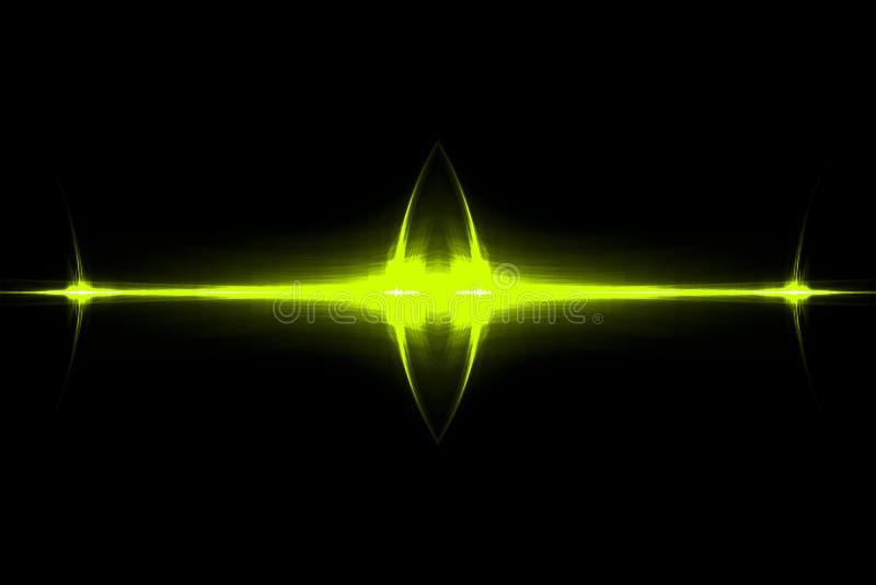 Yellow circular wave glow. kaleidoscope lighting effect royalty free illustration