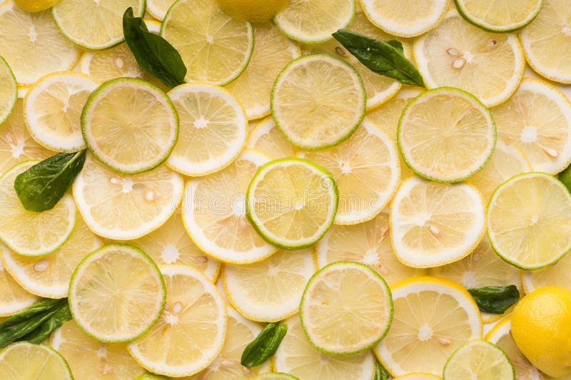 Slice of fresh lime, lemon and mint background stock photography