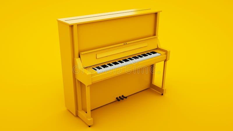 Yellow Classic Piano Concetto minimo di idee, illustrazione 3d royalty illustrazione gratis