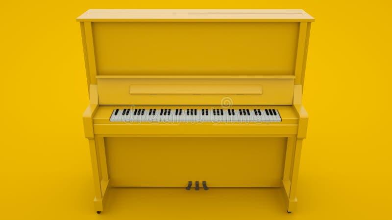 Yellow Classic Piano Concetto minimo di idee, illustrazione 3d illustrazione di stock