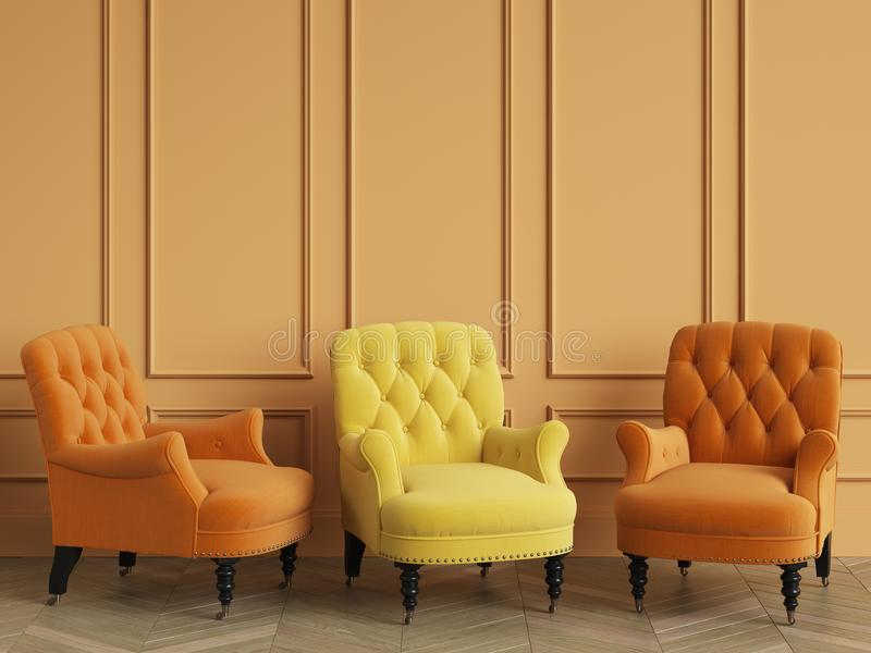Yellow classic tufted chair among orange chairs are standing in an empty room with copy space. Orange walls and floor parquet oak Herringbone. Digital vector illustration