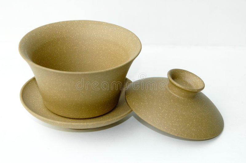 Yellow clay Chinese teacup stock photo