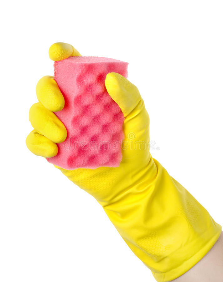 Yellow cleaning glove royalty free stock images