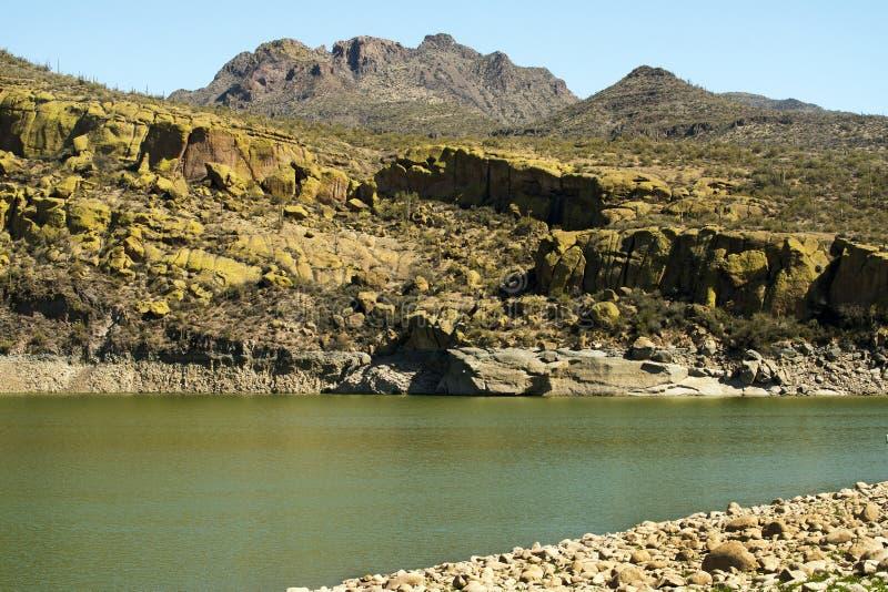 Yellow Cliffs at Bartlett Lake. In Tonto National Forest near Phoenix, Arizona stock image