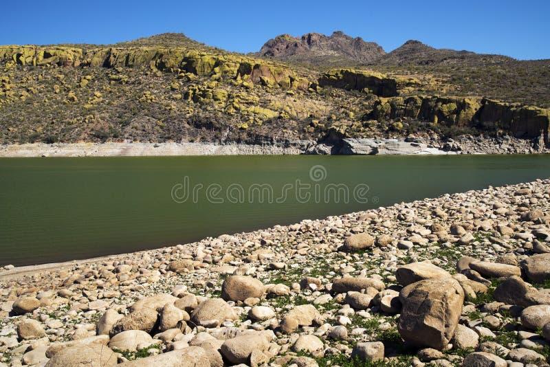 Yellow Cliffs at Bartlett Lake. In Tonto National Forest near Phoenix, Arizona stock photo