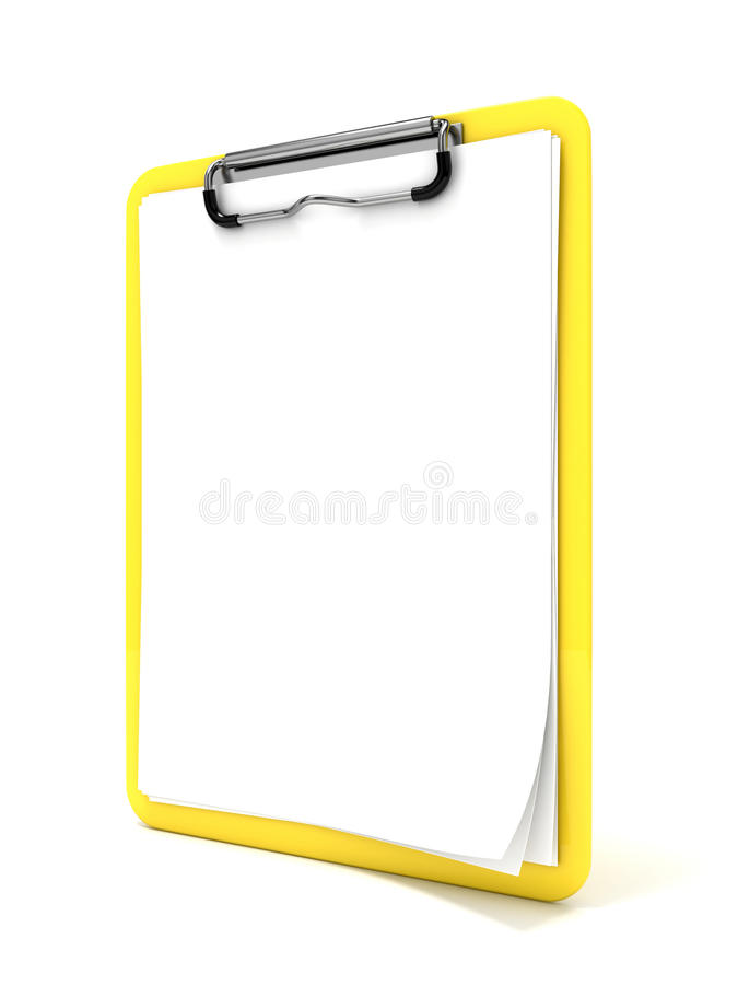 Yellow clipboard and blank paper. 3D render royalty free stock image