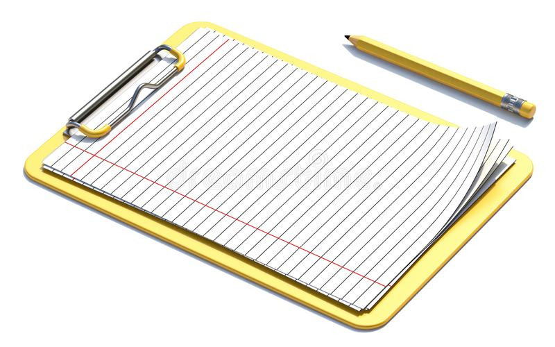 Yellow clipboard, pencil and blank lined paper 3D vector illustration