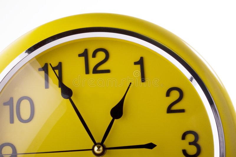 Yellow clock stock images