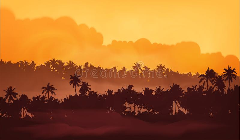 Yellow clouds sunset sky Asian landscape with palm trees forest in fog, vector illustration banner background.  royalty free illustration