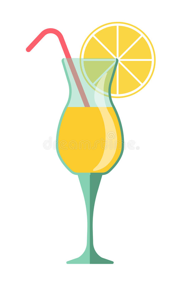 Yellow cocktail in glass with lemon slice and straw. Yellow cocktail in glass with lemon slice and red straw. Cooling beverage for summer parties and vector illustration