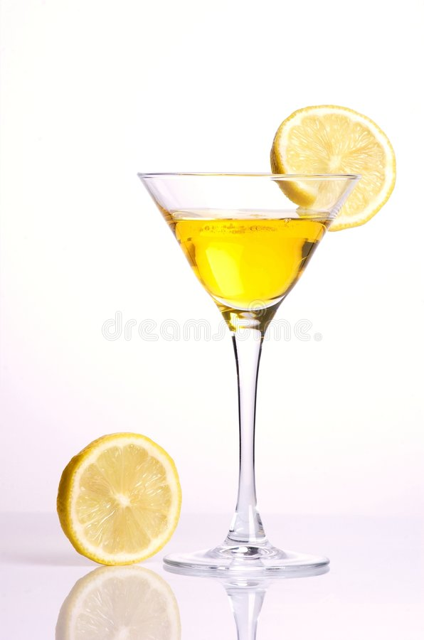 Yellow Cocktail With Lemon Stock Photo