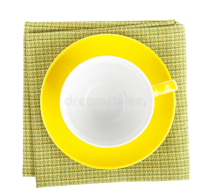 Free Yellow Coffee Cup Over Kitchen Towel Stock Photos - 40715773