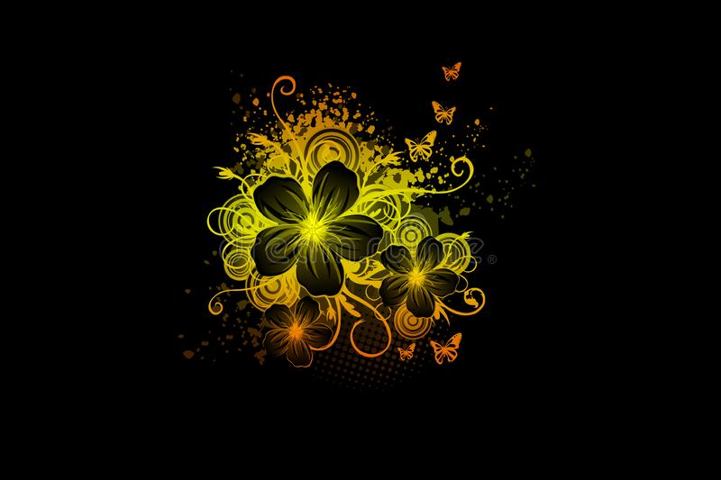 Yellow color beautiful floral flowers in black background royalty free illustration