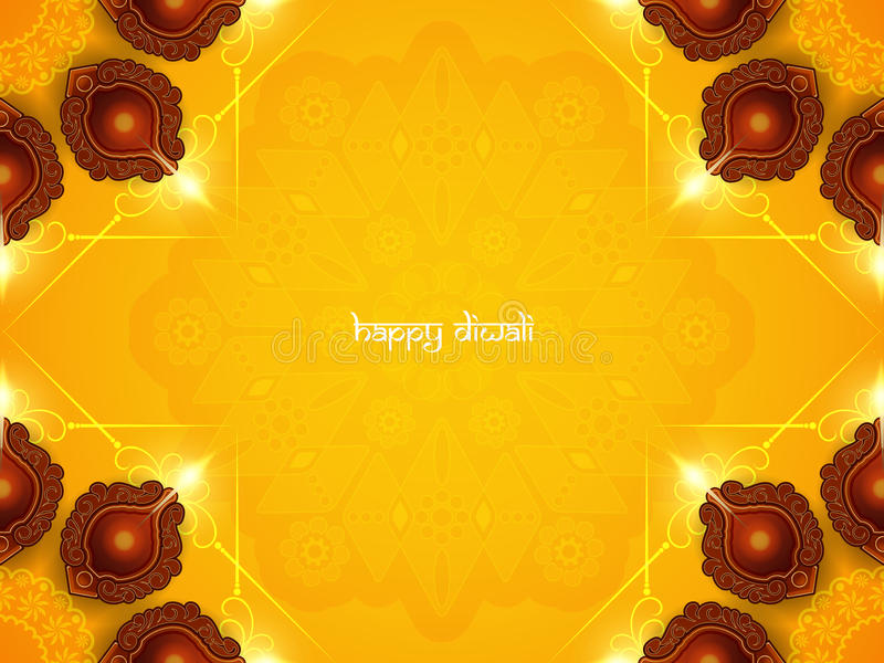 Yellow color card design for Diwali festival with beautiful lamps. vector illustration
