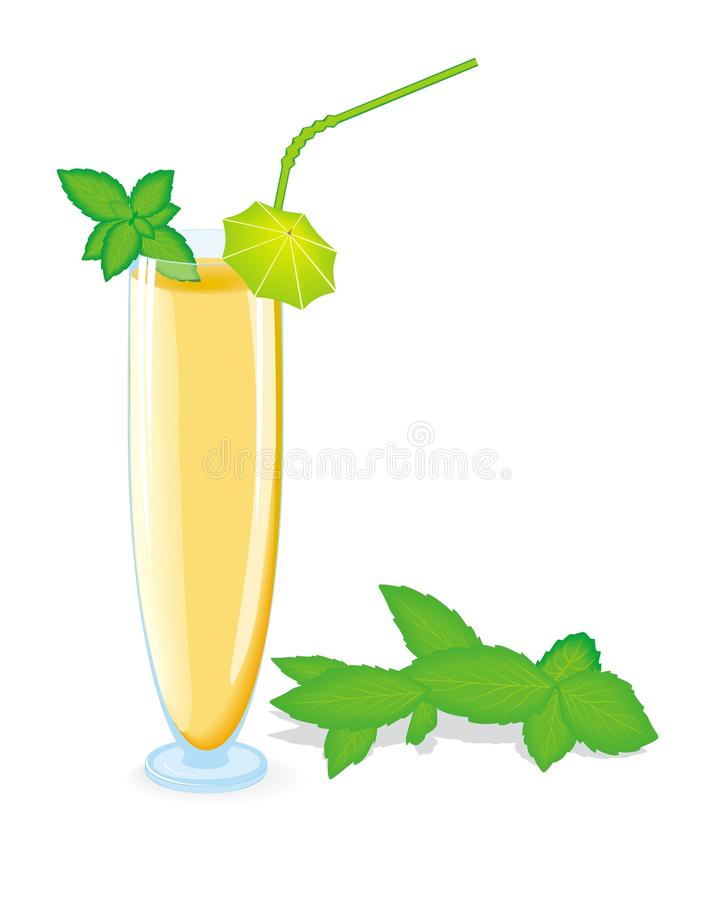 Yellow Color Cocktail With Green Mint Stock Photography