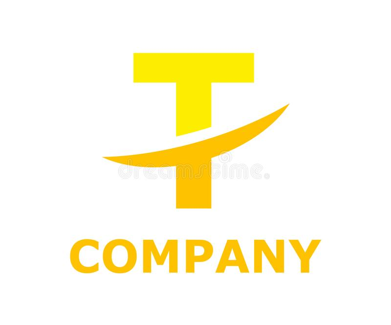 Slice alphabet logo t. Yellow color logo symbol slice type letter t by blade initial business logo design idea illustration shape for modern premium corporate vector illustration