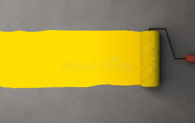 Yellow color painting by the roller brush and wall texture background with space stock illustration