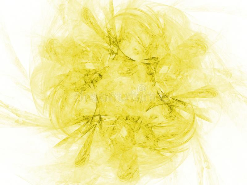 Yellow color toned monochrome abstract fractal illustration. Faded background stock photography