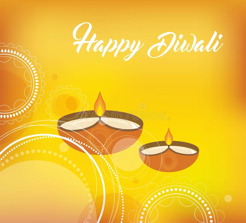 Yellow color vector card design for Diwali festival with beautiful lamps vector illustration