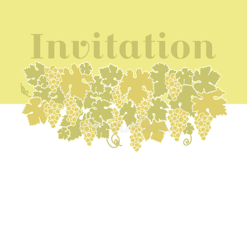 Yellow color wine grape background. Vector illustration of grapes silhouette royalty free illustration