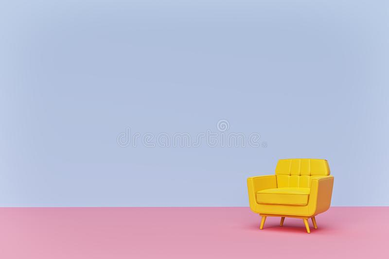 Yellow colored Armchair sofa on pastel background. minimal concept with copy space. 3d rendering vector illustration