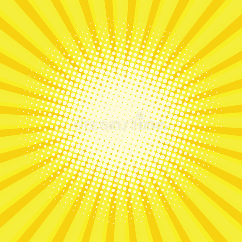 Yellow colored back pop art style background. Backdrop line space. sun beam template. Vector illustration royalty free illustration