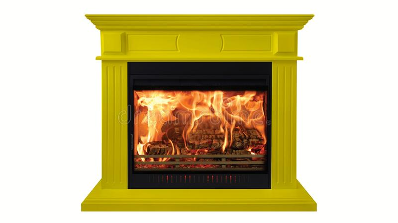 Yellow colorful burning classic fireplace isolated on white background royalty free stock image