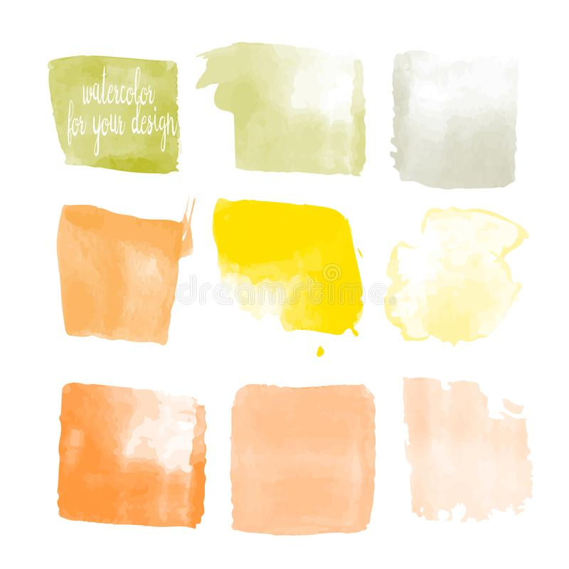 Yellow colors watercolor paint stains stock illustration