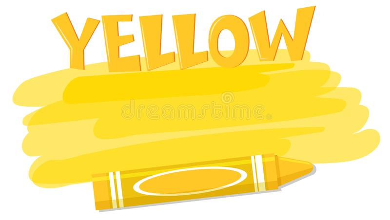 Yellow colour paint and crayon royalty free illustration