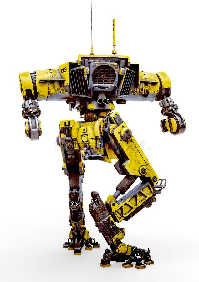 Free Yellow Combat Mech In A White Background Rear View Royalty Free Stock Photos - 181420678