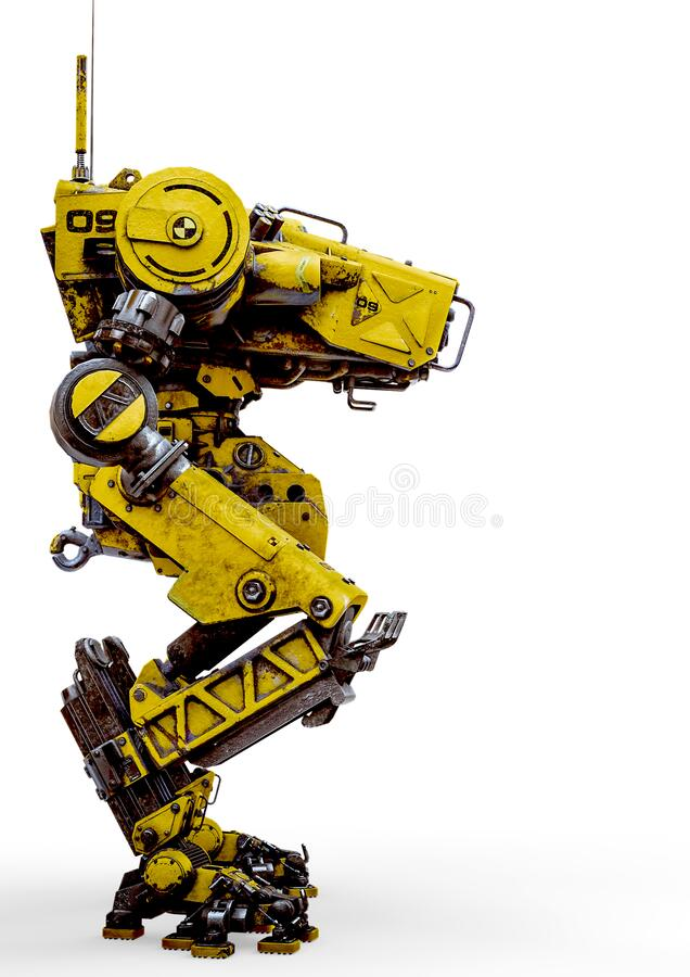 Free Yellow Combat Mech In A White Background Side View Stock Photography - 181420582