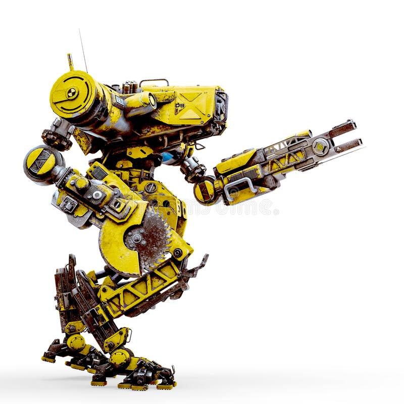 Free Yellow Combat Mech Is Ready For War In A White Background Royalty Free Stock Image - 181420616
