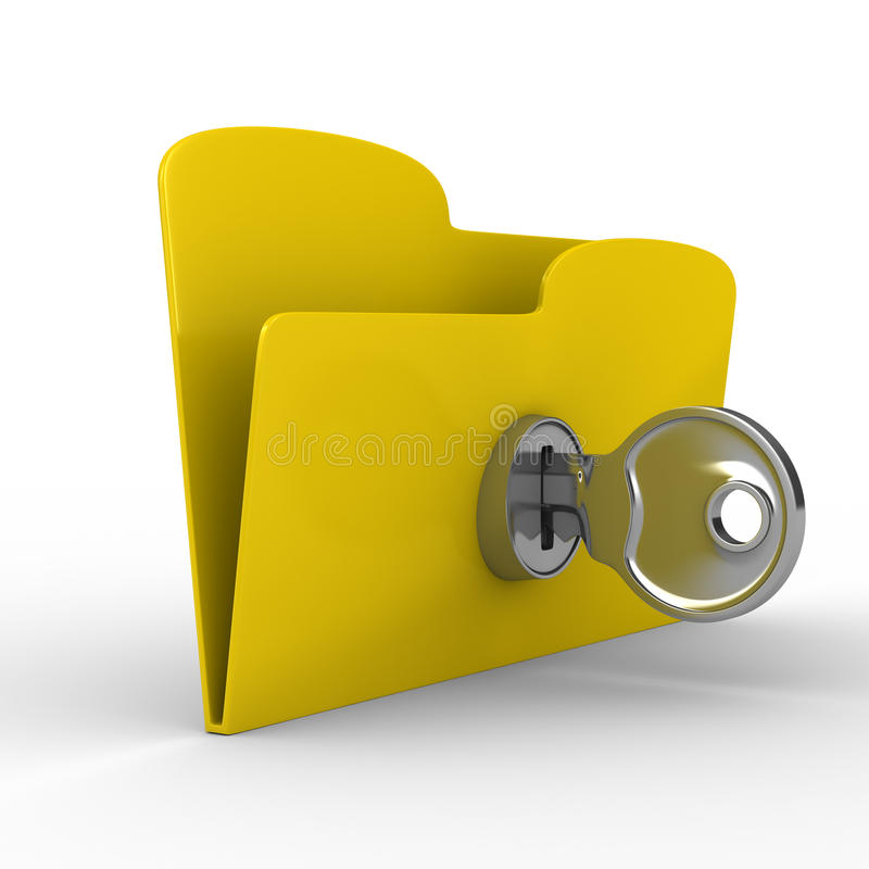 Yellow computer folder with key. Isolated 3d image stock illustration