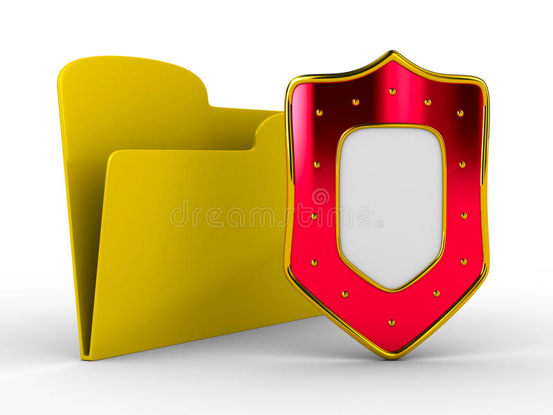 Download Yellow Computer Folder With Shield Stock Illustration - Image: 14804577