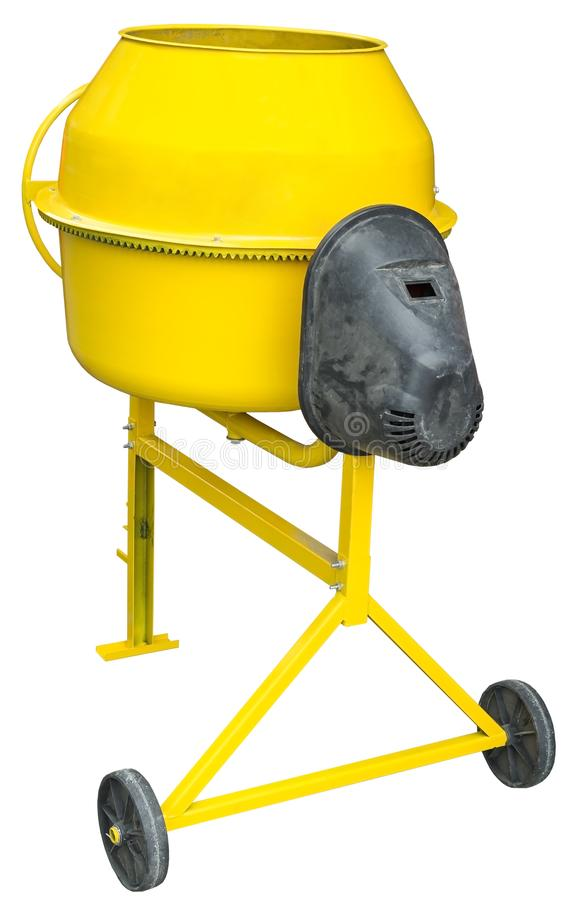 Yellow Concrete Mixer on white. Background royalty free stock photography