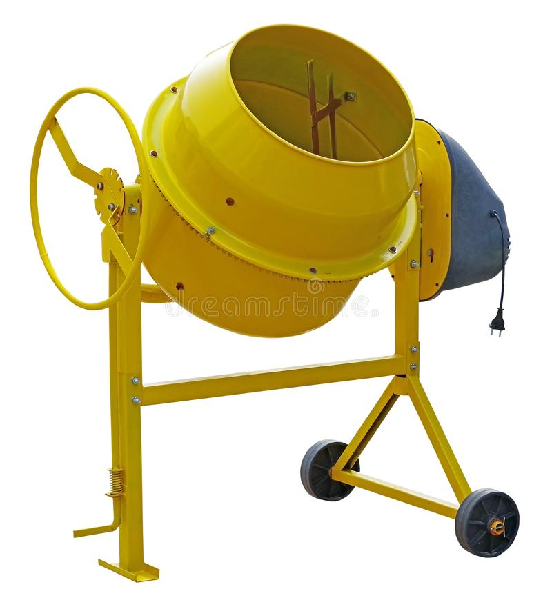 Yellow Concrete Mixer. On white background stock photo