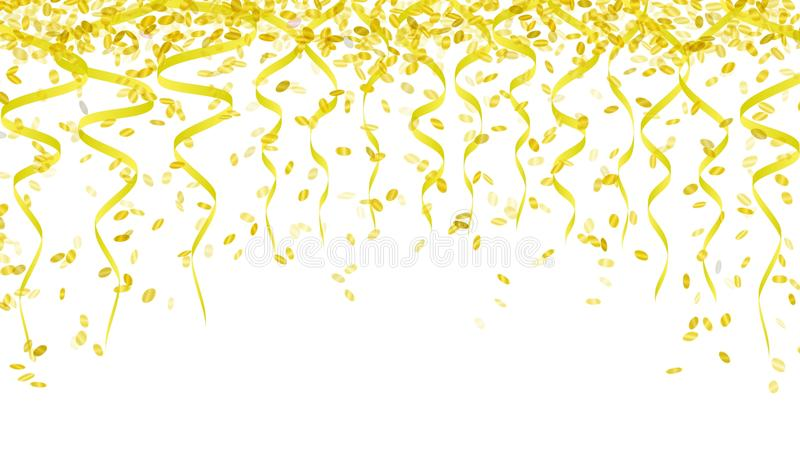 Yellow confetti and ribbons stock illustration