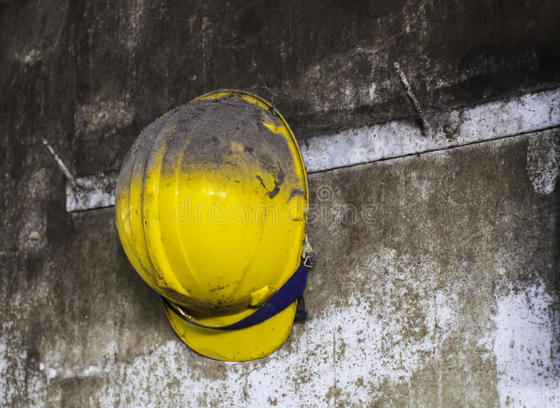 Yellow construction helmet royalty free stock images